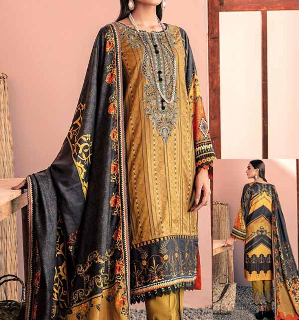 3 Piece Printed Lawn Suit With Chiffon Duppata (DRL-881)