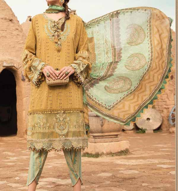 EID Collecion Lawn Full Heavy Embroidered Suit With Chiffon Duppata (Unsicthed) (DRL-931)