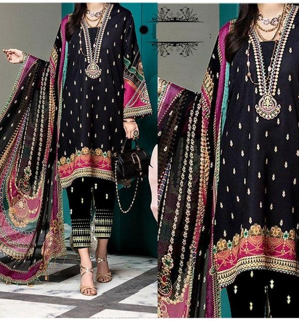 3 Pieces Black Linen Suit 2020 With Wool Shawl Dupatta  (LN-158)