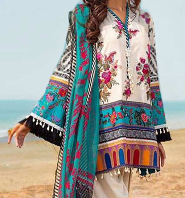 3 Pieces Embroidered Lawn Suits With CHIFFON Duppata Online UnStitched (DRL-595)