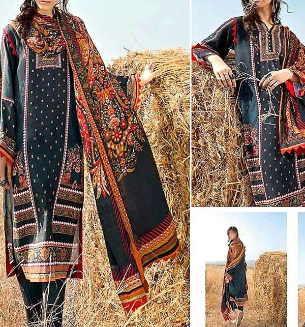 Khaddar Printed Suit with Pashmina Shawl(Unsitched) (KD-135)