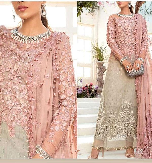 Chiffon Handwork Heavy Embroidered Tie & Die Chiffon Wedding Dress 2021 (CHI-484)