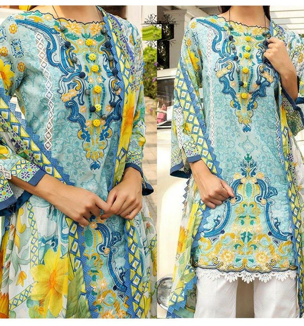 3pc Masoori Lawn With CHIFFON PRINTED DUPPATA  (DRL-609)