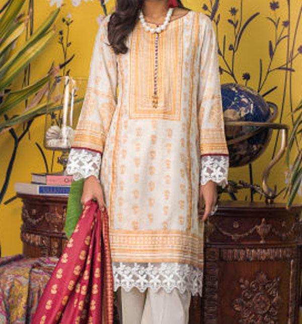 Banarsi Lawn Block Printed Collection 3 Pec Suit BY Z.S Textile (RBP-08) (Unstitched)