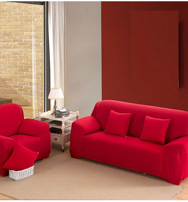 7 Seater Jersey Sofa Cover - RED (3+2+1+1 seater)