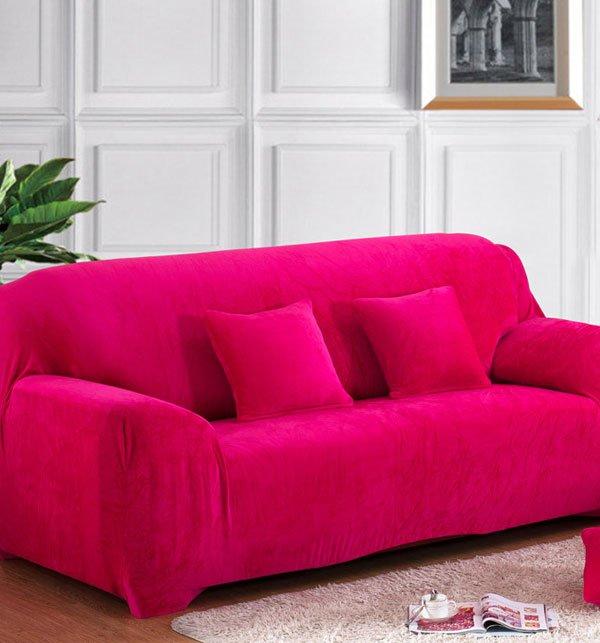 7 Seater Jersey Sofa Slipcover - Magenta (3 + 2 + 1 + 1)