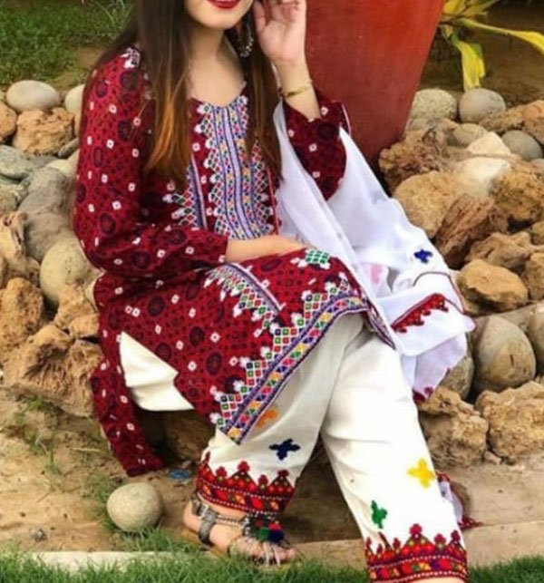 Ajrak Linen Embroidery Suit Wool Shawl Dupatta UnStitched (LN-172)