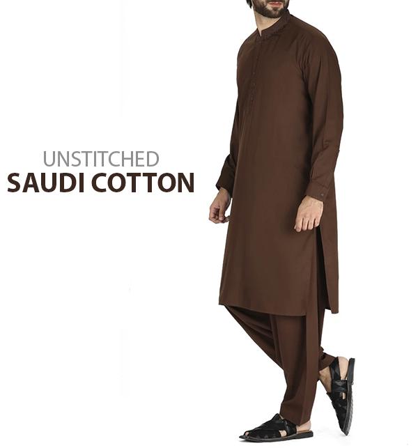 Saudia Cotton (Orignal) Men's Kameez Shalwar Unstitched (MSK-51)