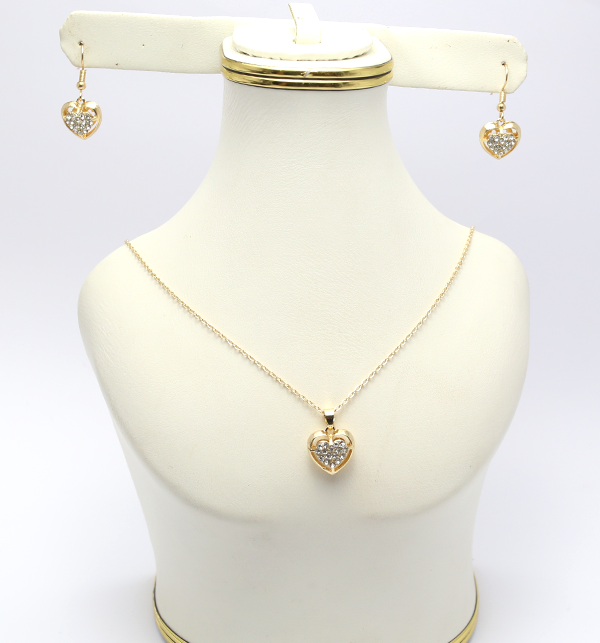 Artificial Golden Heart Shaped Necklace with Earrings (PS-125)