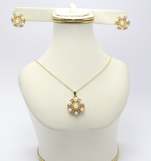 Artificial Golden Necklace With Earrings Ps 131 Online Shopping