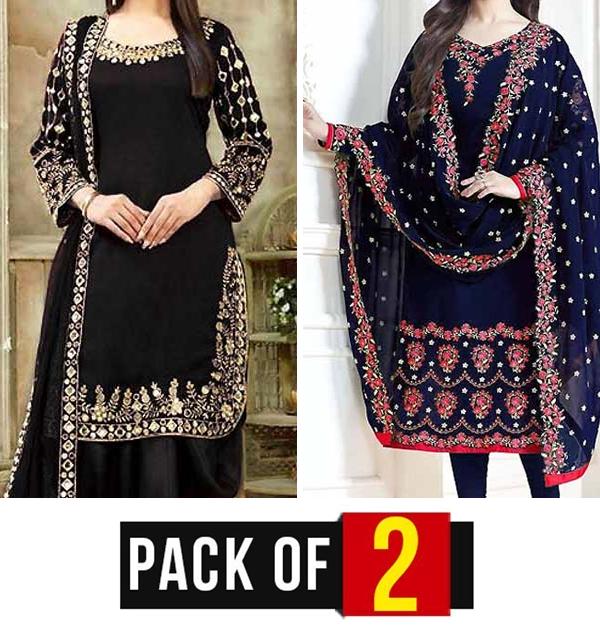Pack of 2 Chiffon Dresses With Chiffon Dupatta (CHI-406) & (CHI-465)
