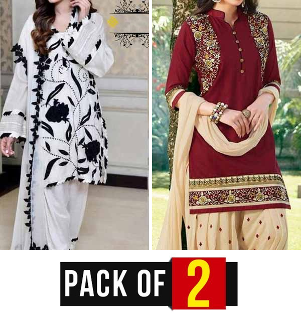 Pack OF 2 PCS Lawn Embroidered Suit (Unsicthed) (DRL-808) &  (DRL-708)