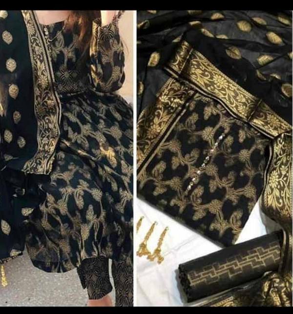 Banarsi Style Black Cotton Jacquard Suit with Cotton Jacquard Dupatta (Unsicthed) (DRL-942)