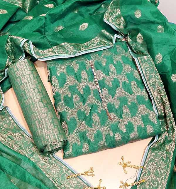 UNSTITCHED Banarsi Style Cotton Jacquard Suit with Cotton Jacquard Dupatta (Unsicthed) (DRL-941)