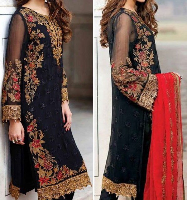 Chiffon Embroidered Unstitched Suit (CHI-29)