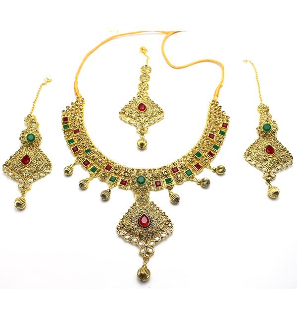 Bridal Heavy Beautiful & Stylish Golden Jewelry Set (PS-104)