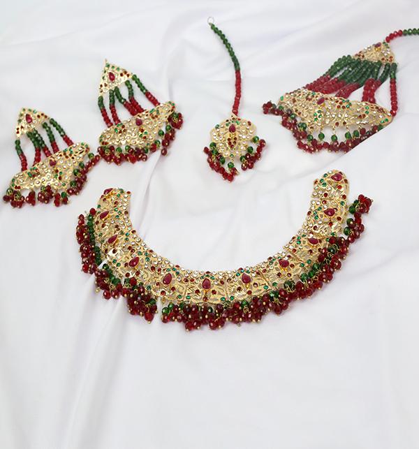 Hyderabadi 9Ratan Multi Stones Stylish Necklace Set (PS-222)