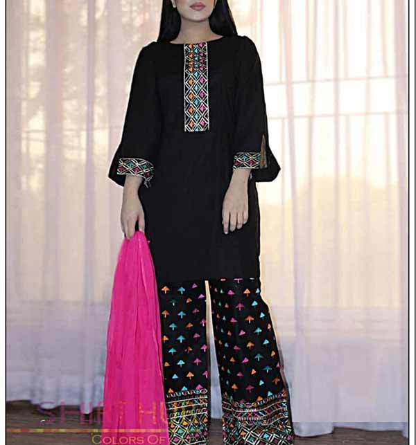 Lawn Black 2 Pec  Full Embroidered Suit Emb Trouser UnStitched (DRL-767)