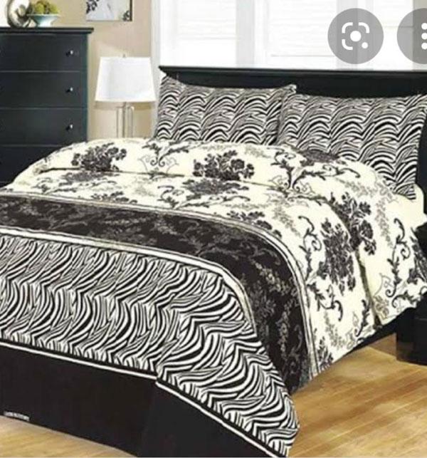 Crystal Cotton Black & White King Size Bed Sheet (BCP-59)