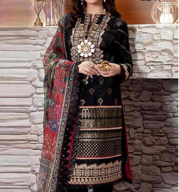 (Azadi Sale) Black Eid Embroidered Lawn Dress 2021 with Chiffon Dupatta (DRL-834)