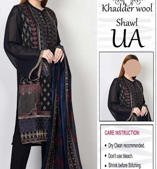 Black Embroidered Khaddar Dress with Wool Shawl Dupatta (Unstitched) (KD-119)