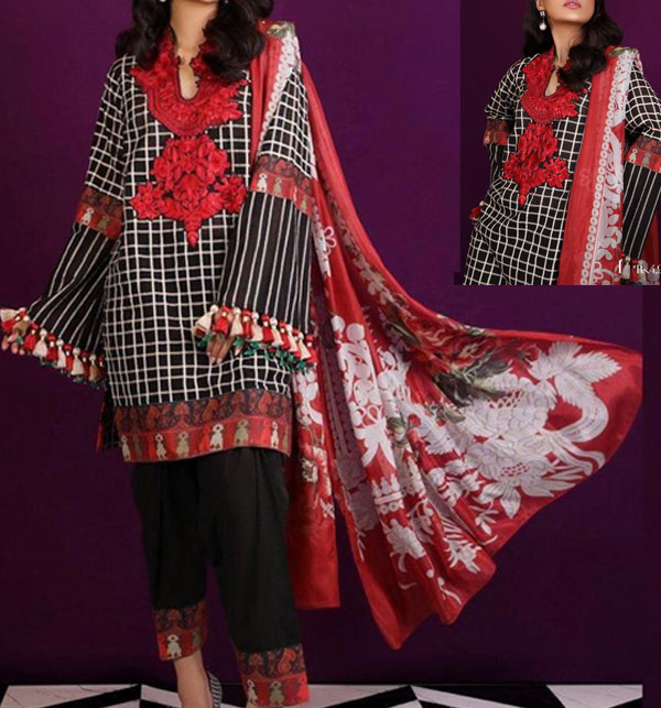 Khaddar Embroidered Suit with Wool Shawl Dupatta (KD-109)