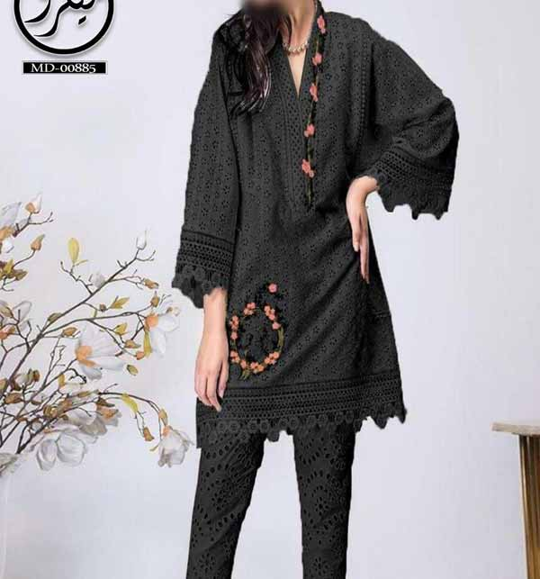 Black Front Full Chicken Embroidered Suit With Chiffon Embroidered Dupptta  (DRL-918)