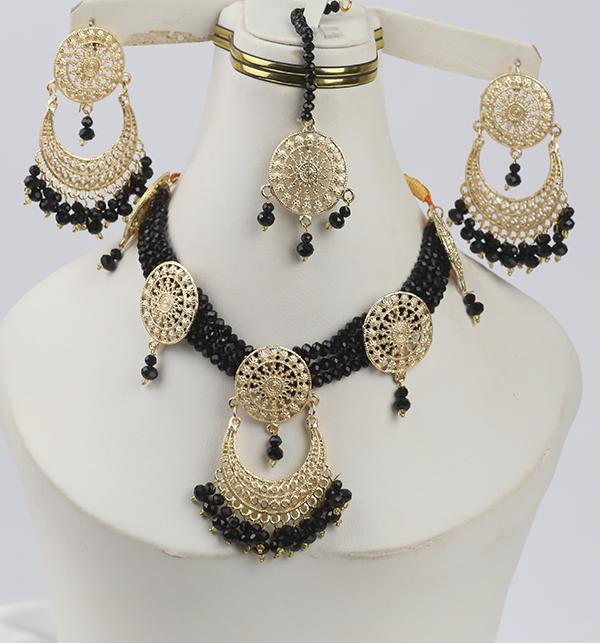 Black Golden Necklace Set For Women (PS-280)