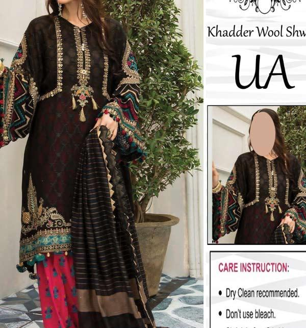 Black Khadder Embroidered Dress with Wool Shawl Dupatta  (Unstitched) (KD-132)