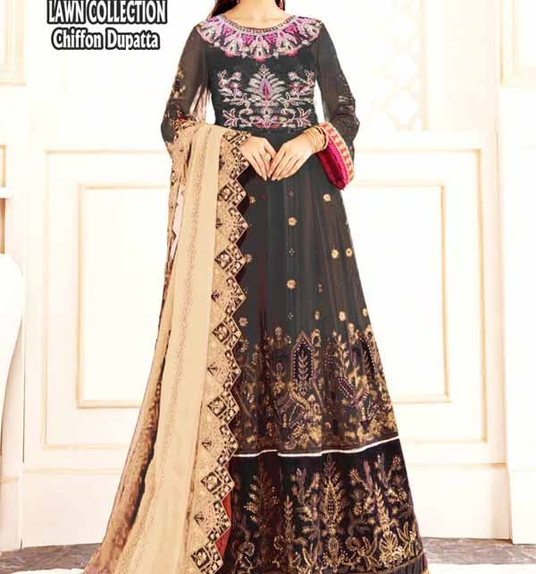 Black Lawn Embroidered Suit With Chiffon Dupatta (DRL-806)