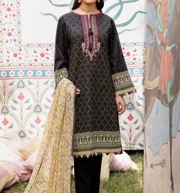 Black Linen Embroidered Dress 2021 with Chiffon Duppata UnStitched (LN-222)
