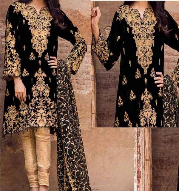 Linen Full Embroidered Suit With Bamber Chiffon Full Embroidered Dupatta (LN-227)