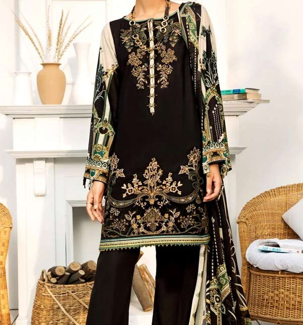 Marina Embroidery Dress With Marina Dupatta UnStitched (LN-175)