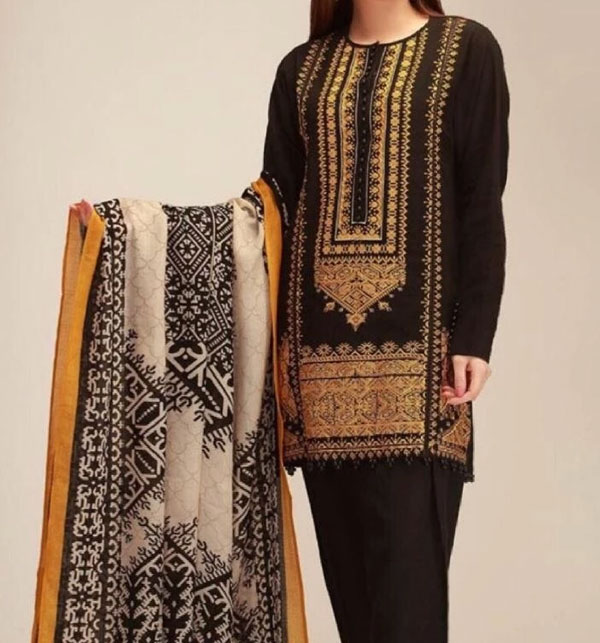 Khaddar Embroidery Dress With Wool Shawl Winter Collection 2020 (KD-83) (UnStitched)