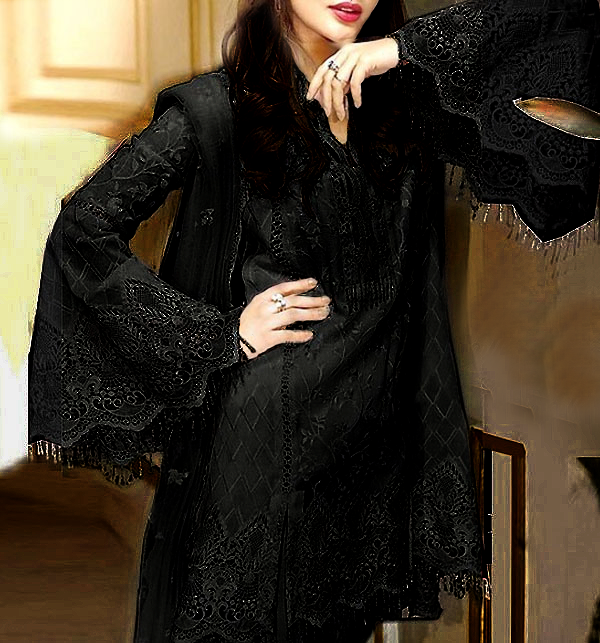 Black NET Heavy Embroidered Dress Embroidered Net Dupatta UnStitched (CHI-480)