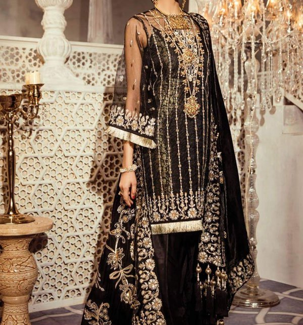 Black Net Suit Design 2019 With Net Embroidery Duppata (CHI-283) (Unstitched)