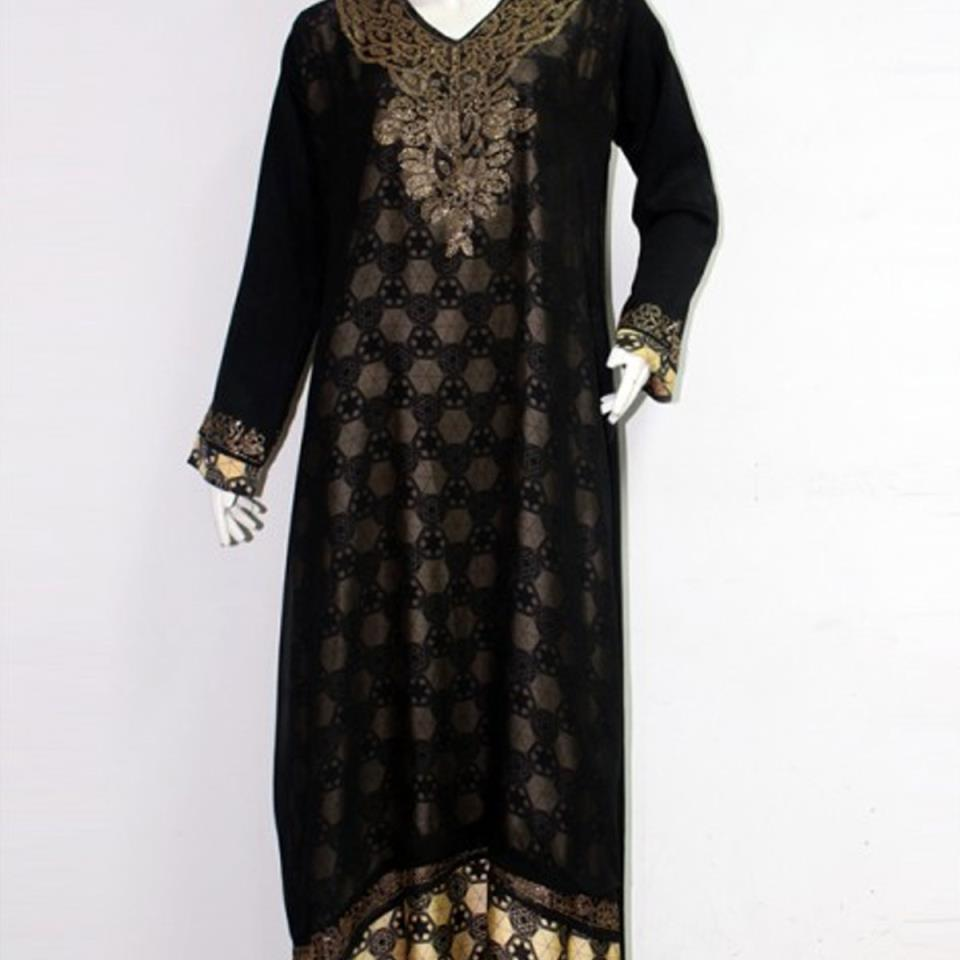 Black Nida Abaya For Women With Scarf  (AB-38)