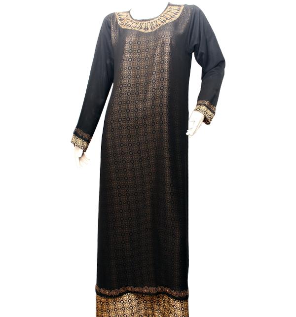 Black Nida Fabric Abaya for Women With Scarf (AB-34)