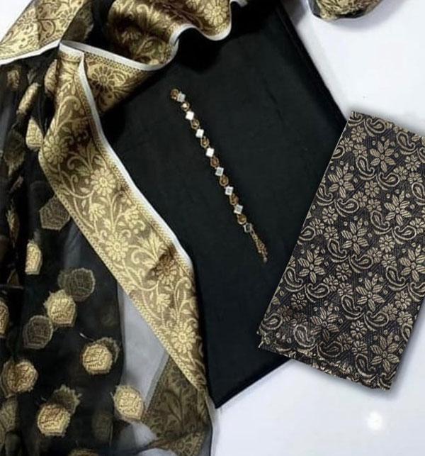 Black Organza Jaquard Suit With Organza Dupatta  (DRL-956)