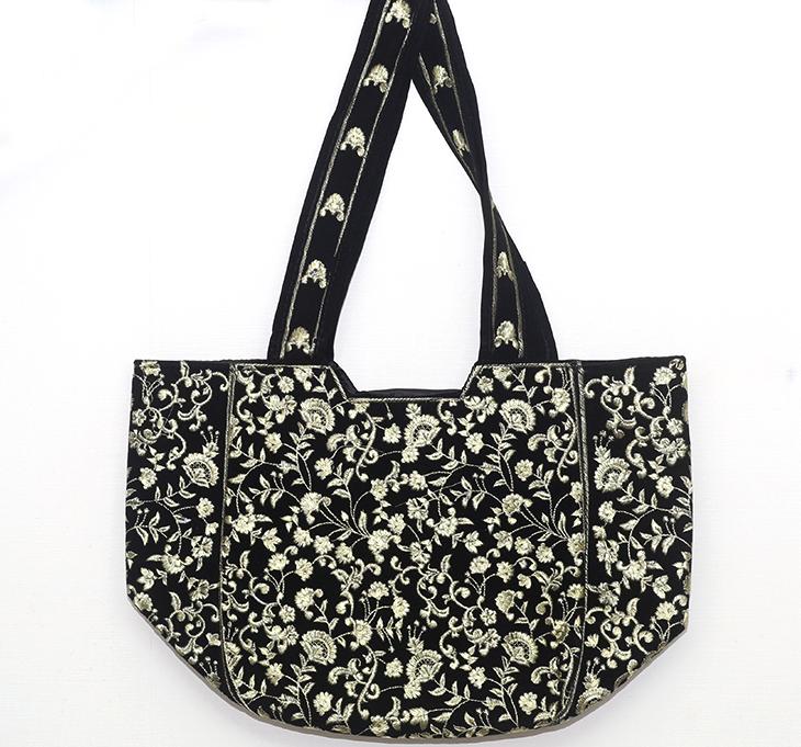 Black Women Handbag Embroidered (HB-56)