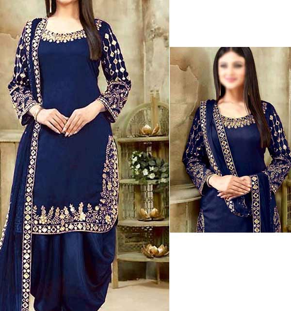 Chiffon Embroidery Patiala Mirror Work Suit Blue Color (Unsitched) (CHI-405)