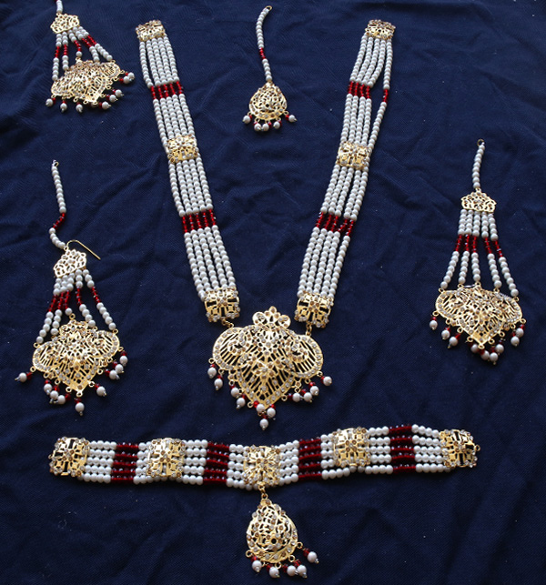 Beautiful Hyderabadi Jewelry Set MALA & Chocker Necklace Set Earing & Mathapatti (PS- 388)