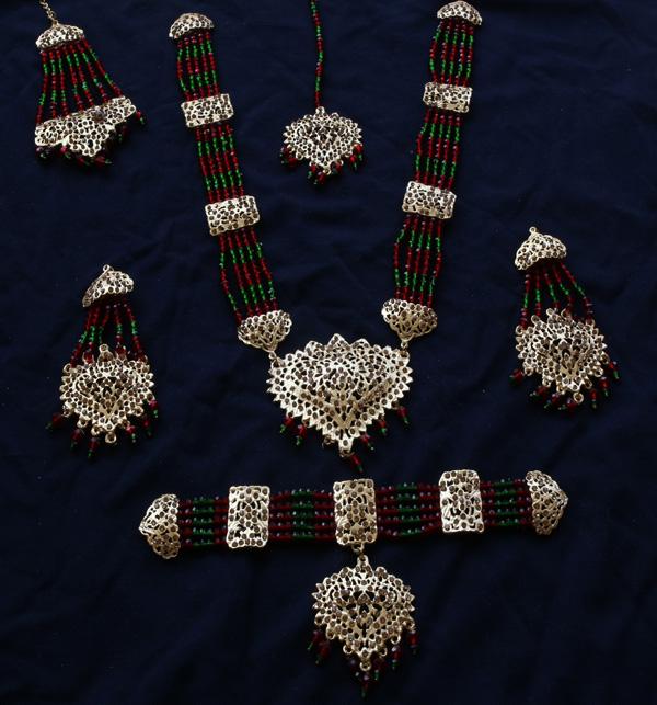 Beautiful Hyderabadi Jewelry Set MALA & Chocker Necklace Set Earing & Mathapatti (PS- 387)