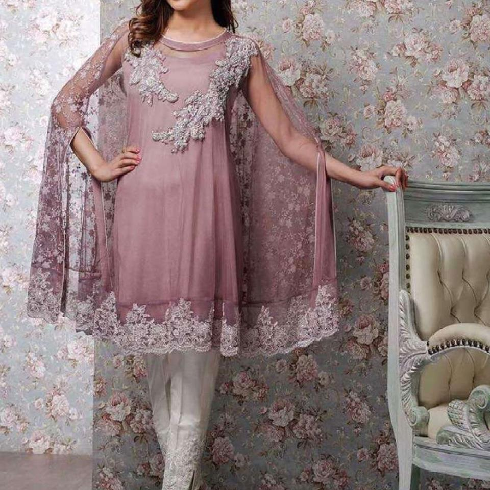 Butterfly Style Embroidered Chiffon Dress (CHI-55)