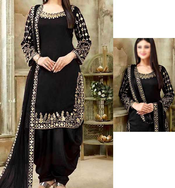 Chiffon Embroidery Suit With Mirror Work Black Color (Unsitched) (CHI-406)