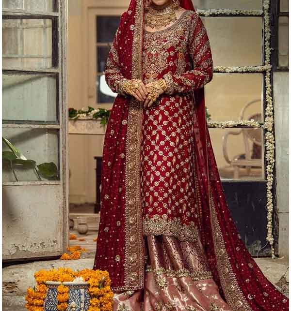 Chiffon Bridal Embroidery Suit With Chiffon Embroidery Dupatta  (CHI-430)