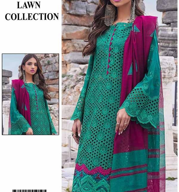 Chikankari Lawn Heavy Full Embroidery Suit (2 Pieces)  (DRL-924)
