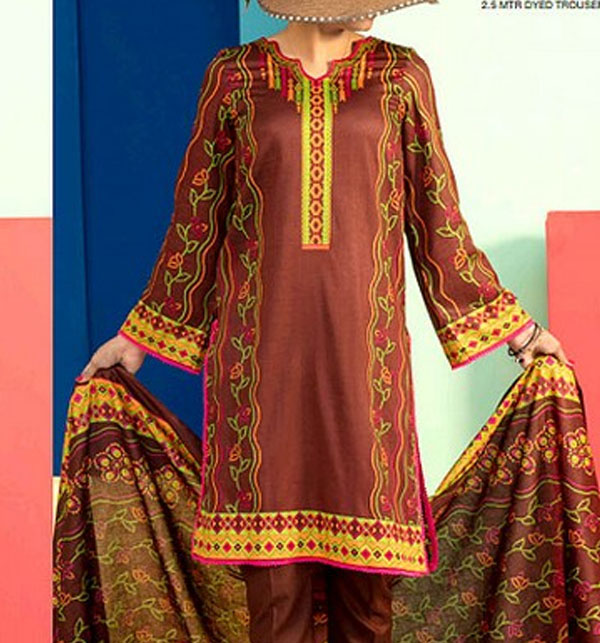 Classic Lawn Collection 2019 With Lawn Dupatta (VS-105A) (Unstitched)