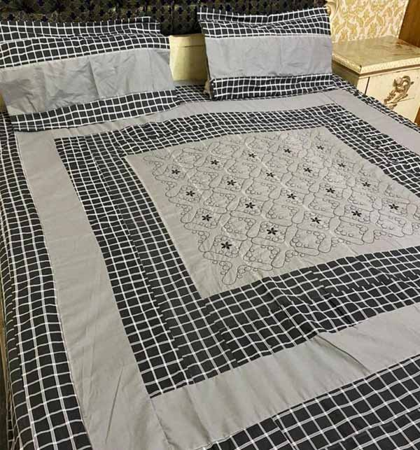 King Size Cotton PatchWork Bed Sheet With 2 Pillow Cover (BCP-41)