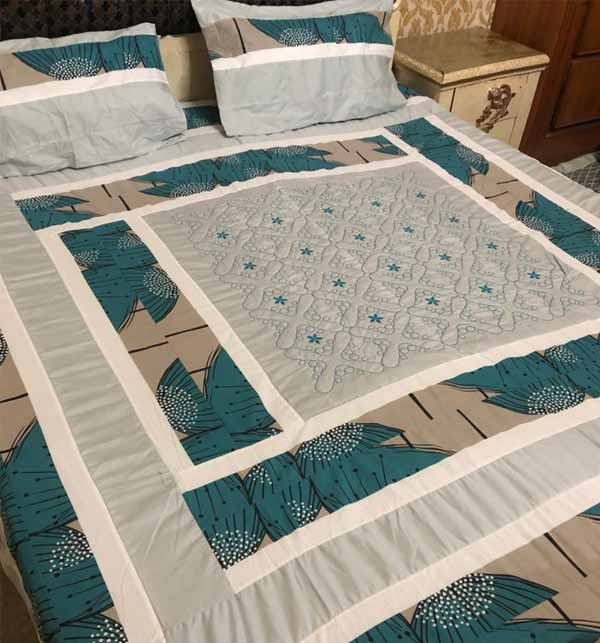 Cotton PatchWork Bed Sheet Online Design 2021 With 2 Pillow Cover  (BCP-25)